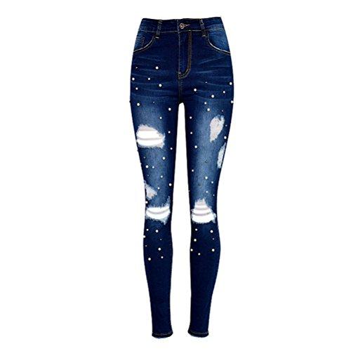 Azul Oscuro Azul Pantalones Elástico Pantalones Trousers Señoras Ladies Zhhlinyuan Calidad Oscuro Ripeado Beads Mezclilla Delgado Irregular SvqawzH