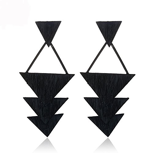 Alloy Wood Grain Earrings for Women Triangle Shape Big Statement Earrings