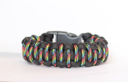 Ball Snare - SENC 550/275 Paracord Bracelet With Whistle Buckle - Pride Rainbow L (8.5