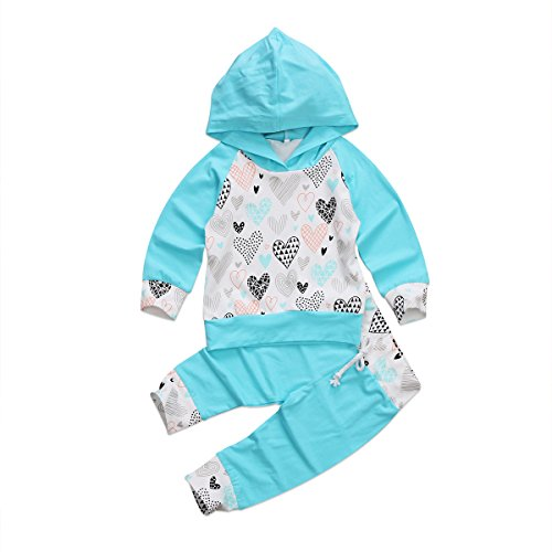 2Pcs Newborn Baby Boy Girl Hoodie Outfit Set Long Sleeve T-shirt Top + Pants Fall Winter Clothing (18~24Months, Blue)