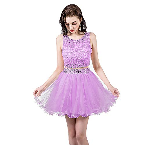 2 Piece Lavender Dress - TANGFUTI Two Piece Homecoming Dresses Short Beaded Tulle Formal Prom Gowns 010 Lavender US2