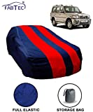 Fabtec Red & Blue Car Body Cover for Mahindra Scorpio Old with Storage Bag Combo!