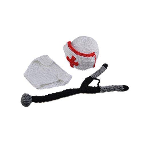 Handmade Newborn Baby Photography Prop Crochet Knit Costume Nurse Hat Diaper Outfits -
