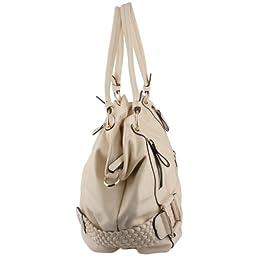 MG Collection Samantha Weave Belt Hobo Handbag, Cream, One Size