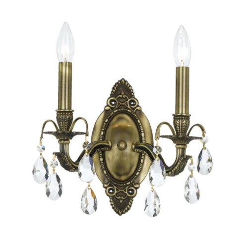 Crystorama 5562-AB-CL-SAQ Crystal Accents Two Light Bathroom Lights from Dawson collection in Brass-Antiquefinish, 5.50 inches