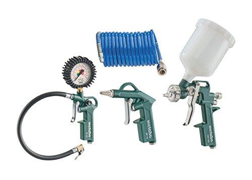 Metabo Druckluft-Werkzeugset LPZ DL / qualitatives Druckluftwerkzeug für Kompressor / Set mit Blaspistole, Reifenfüllmessgerät, Farbspritzpistole und Spiralschlauch