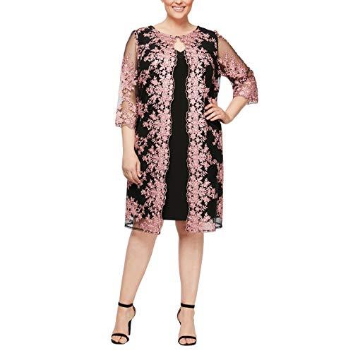 Alex Evenings Women's Plus-Size Midi Scoop Neck Shift Dress with Chiffon Jacket, Black/Coral, 22W (Plus Size Evening Jackets)