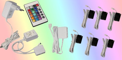 6er Set Glaskantenbeleuchtung RGB LED Farbwechsel Trango TG5022-06