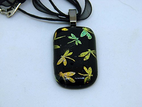 Dragonfly Pendant Handmade Pink Yellow and Gold on Black Dichroic Glass Fused Necklace