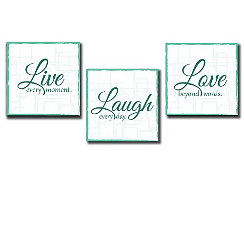 Live Laugh Love Print Decor Panels on Wooden Stretcher Bars Colorful Design for Home Beautiful Quote Teal