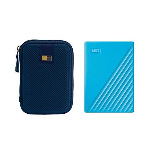 WD 2TB My Passport USB 3.2 Gen 1 Slim Portable External Hard Drive (2019, Sky) + Compact Hard Drive Case (Blue) (2TB, Sky Blue)