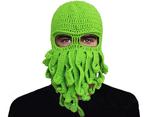 GIANCOMICS Funny Tentacle Octopus Beanie Crochet Knit Beard Hat Fisher Cap Wind Ski Mask -