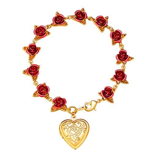 (U7 Women Girls Heart Locket Charm Bracelet 18K Gold Plated Link Red Rose Flower Chain Bracelets, Wedding/Memorial Gift for)