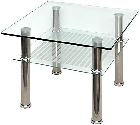 ts-ideen - Mesa Auxiliar (Cristal, 60 x 60 cm, Acero Inoxidable ...