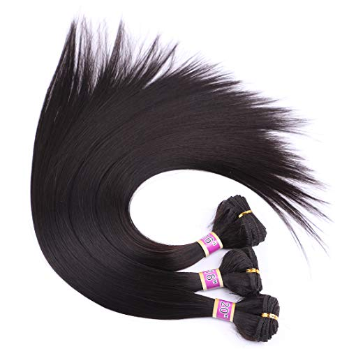 (3 Bundles Silky Straight Synthetic Hair Weave Extensions Dark Brown 16 18 20 Inches(2#) )