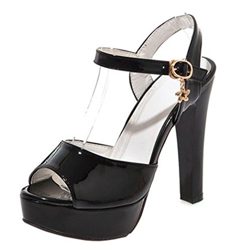 Easemax Femmes Sexy Peep Toe Haute Chunky Talon Cheville Boucle Sangle Plate-forme Sandales Avec Pendentifs Noir