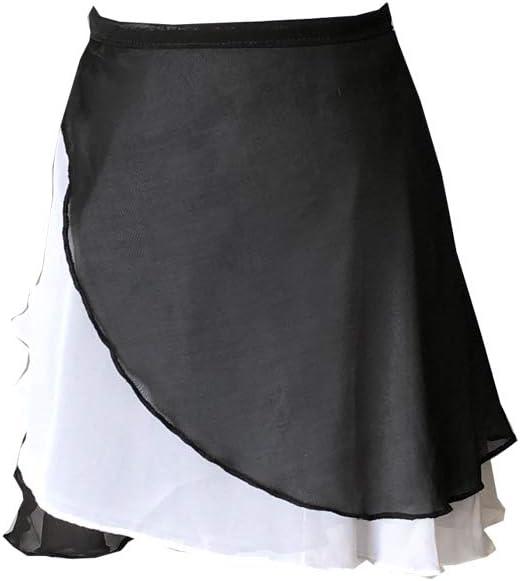 Limiles レディース バレエダンススカート ブラック-ホワイト Medium