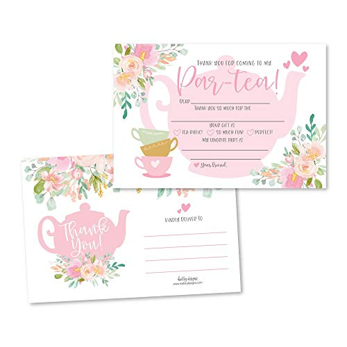 25 Tea Party Fill In The Blank Kids Thank You Cards, Alice's Adventure in Wonderland Themed Mad Abbey Hat Bday Party Notes, Adult or Children Birthday, High Tea Hatter Supplies, Teacup Teapot Ideas
