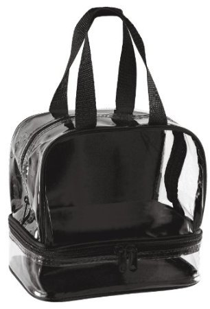 8d3ba270c6f9 Amazon.com : Clear Lunch Bag with Zipper Compartment - Black Trim : Baby