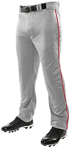 ChamproメンズTriple Crown Open Bottom Piped Pants B01BHF9WZU X-Large|Grey|Scarlet Grey|Scarlet X-Large