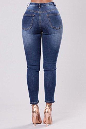 Pantaloni Casual Ricamo Zhiyuanan Stretch Stretti Donna Matita Jeans Strappati Blu Moda Fiori Scuro Denim YzzqTw