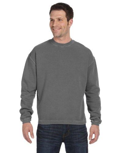 (Authentic Pigment 11 oz Pigment-Dyed Ringspun Fleece Crew Sweatshirt 11561 grey Small)