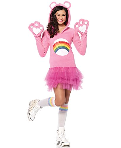 Carebear Costumes (Leg Avenue CB49076 Official License Care Bear Cheer Bear Teen Girls Halloween Costume - Light Pink -)