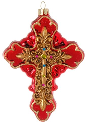 - Christian Cross Red Glass Jeweled Christmas Ornament BUYERS' CHOICE (Gold raised center w/purple,peridot, and aqua gems (B))