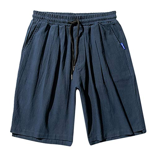 - Men's Linen Casual Classic Fit Short Beach Shorts with Elastic Waist Drawstring Summer Short Pants with Pockets Navy