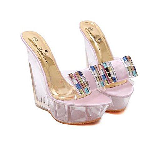 Mujer Nuevas 2018 Crystal Absorción Zapatillas Moda Sandalias 34 Pu Verano Impermeable color Zapatos De Tamaño Rhinestone Rosado Damas Wedges Antideslizante 5zx1IqnqFE