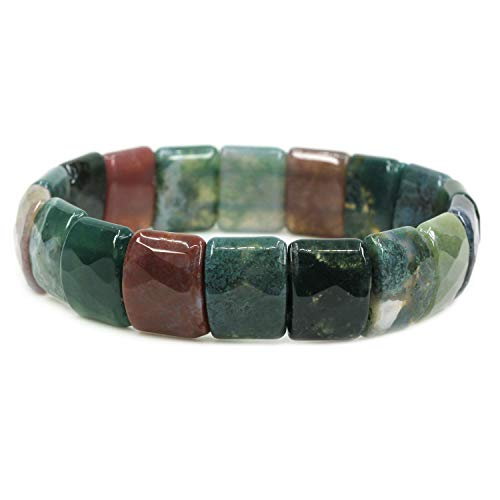 Natural India Agate - Natural India Agate Genuine Semi Precious Gemstone 15mm Square Grain Faceted Beaded Stretchable Bracelet 7
