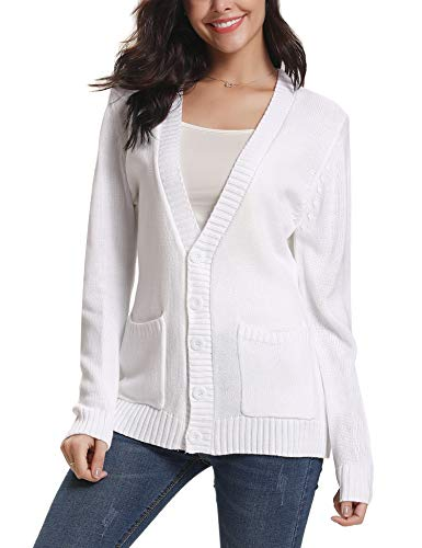 Open Front Cable - Abollria Women Cardigans Open Front Button Down Chunky Cable Knit Cardigan Sweaters Coat Pockets