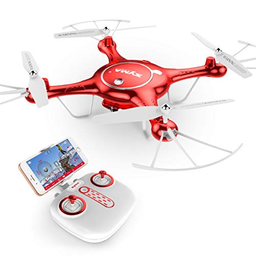 SYMA DoDoeleph X5UW WiFi FPV 720P HD Camera Quadcopter Drone with Flight Plan Route App Control and Altitude Hold Red