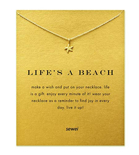 SEWEI Friendship Star Necklace Birthday Gift with Message Card Gift Card (Gold Star)