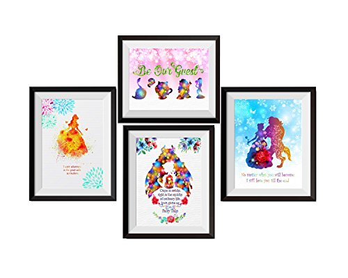 Uhomate 4 pcs Set Beauty and the Beast Princess Belle Beauty Beast Canvas Wall Art Anniversary Gifts Baby Gift Inspirational Quotes Wall Decor for Living Room Wall Decorations for Bedroom M027 (Bella Art Baby)