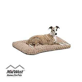 Plush Dog Bed | Ombré Swirl Dog Bed & Cat Bed | Mocha 35L x 23W x 2H - Inches for Med. / Large Dog Breeds