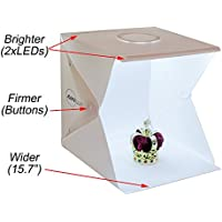 AWLux, Portable light box (softbox), mini photo studio (light box), studio lighting (photo tent), with 2 LED lights, 4 backdrops, button design and better working size (15.7 x15.7x15.7 inches)