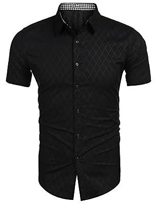 edited Mens Shirts Short Sleeve Plaid Summer Button Fashion Checked Casual Shirt