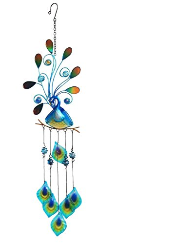 (Continental Art Center Peacock Wind Chime, Blue, 7 by 1 by 26-Inch)