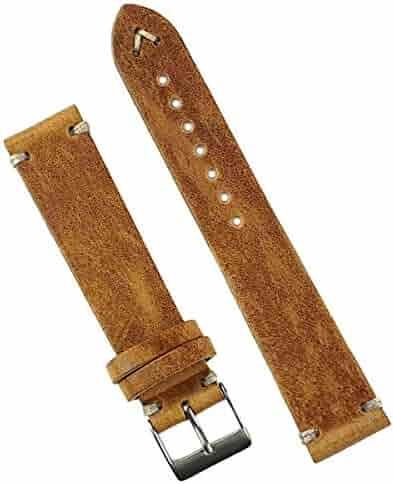 B & R Bands 22mm Oak Classic Vintage Leather Watch Band Strap Handsewn Ecru-Stitch - Medium Length
