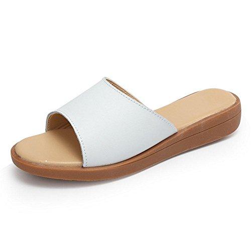 White mujeres Sra de fuente punta abierta sandalias de plana sandalias sandalias mujer de las una salvaje casuales TwURYwaqx