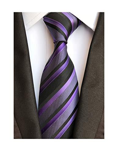 Secdtie Men's Classic Stripe Jacquard Woven Silk Tie Formal Party Suit Necktie (One Size, Black purple) -