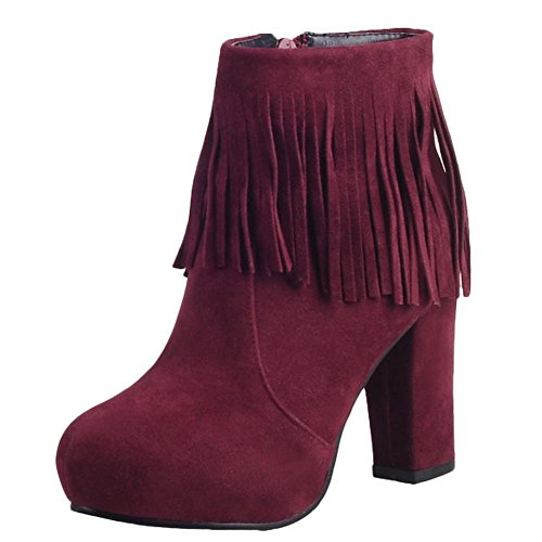 Charm Foot Womens Fashion Tassels Zipper Chunky High Heel Ankle Boots Wine Red OekqZx