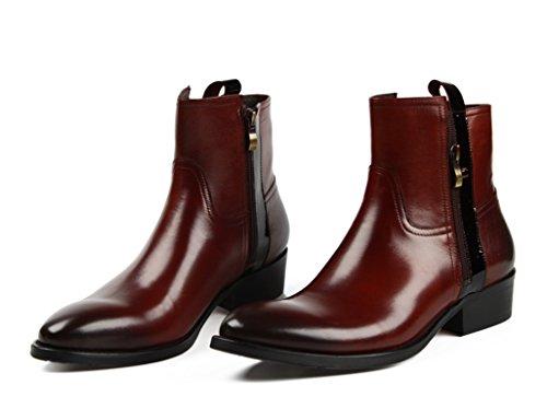 Scarpe Uomo in Pelle Scarpe da uomo con tomaia a punta Stivali corti di moda Martin Boots ( Colore : Red-brown , dimensioni : EU40/UK6.5 ) Red-brown
