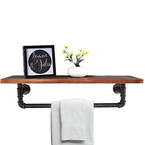 Diwhy Industrial Pipe Shelf Shelving Pine Wood and Pipe Towel Rack - Multiple Shelves (Wood 01, 36)