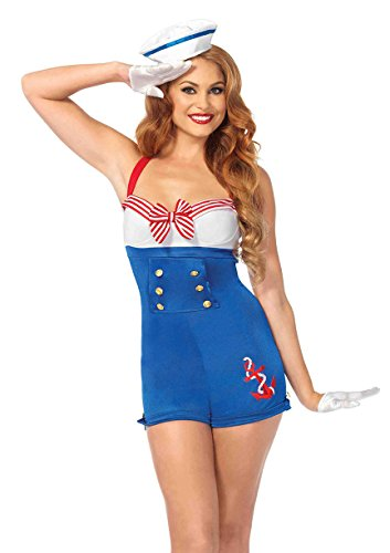 Leg Avenue Women's 2 Piece High Seas Honey Sailor Costume, Multi, -