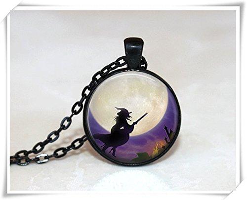 Halloween Jewelry Glass Tile Jewelry Witch Jewelry Holiday Jewelry Silver