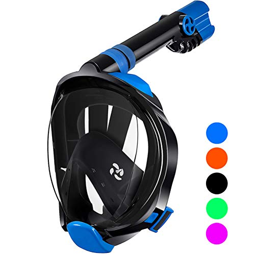 aidong Full Face Snorkel Mask,180 Panoramic Anti Fog Anti Leak Foldable Snorkel Mask,Advanced Breathing System Allows You to Breathe More Fresh Air While Snorkeling,Suitable for Adults&Kids (Snorkeling Masks For Kids)