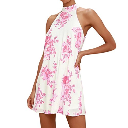 FORUU Womens Floral Print Casual Sleeveless Cocktail Mini Casual Party Dress (S, Pink)