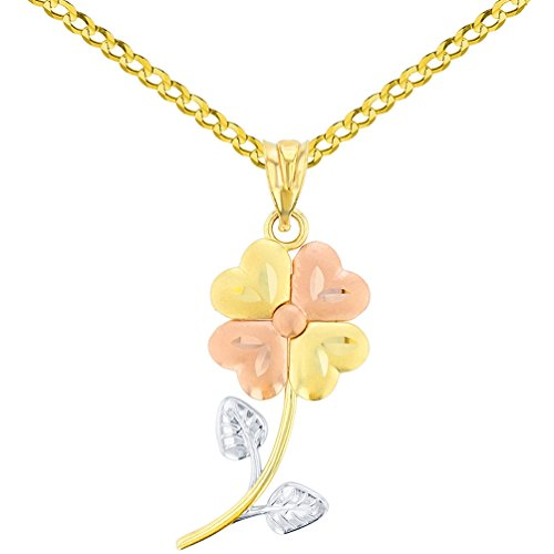 14K Yellow Gold & Rose Gold Textured Tri Color Celtic Four Leaf Clover Charm Pendant Cuban Chain Necklace, - Leaf Color Gold Pendant Tri